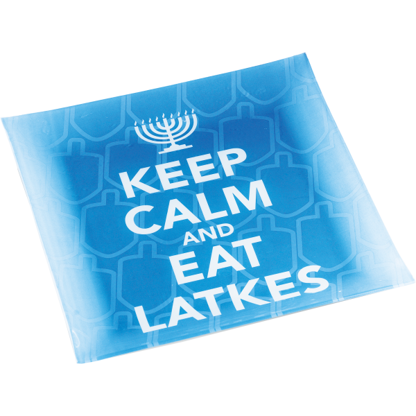 Keep-Calm Latke Platter, Blue