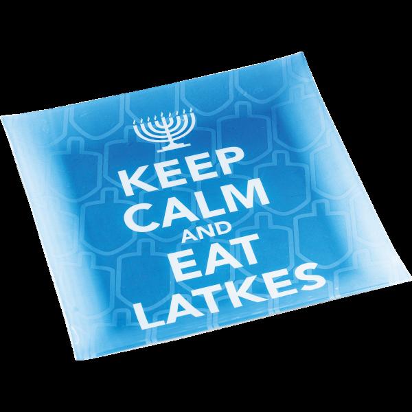Keep-Calm Latke Platter, Blue